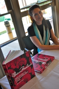 Helen O'Neill at signing desk