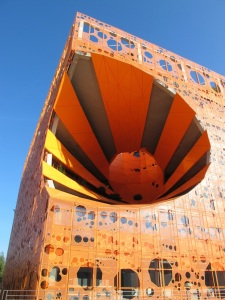 The five-storey 'Le Cube Orange' designed by Jakob+MacFarlane, in Lyon's Confluence district